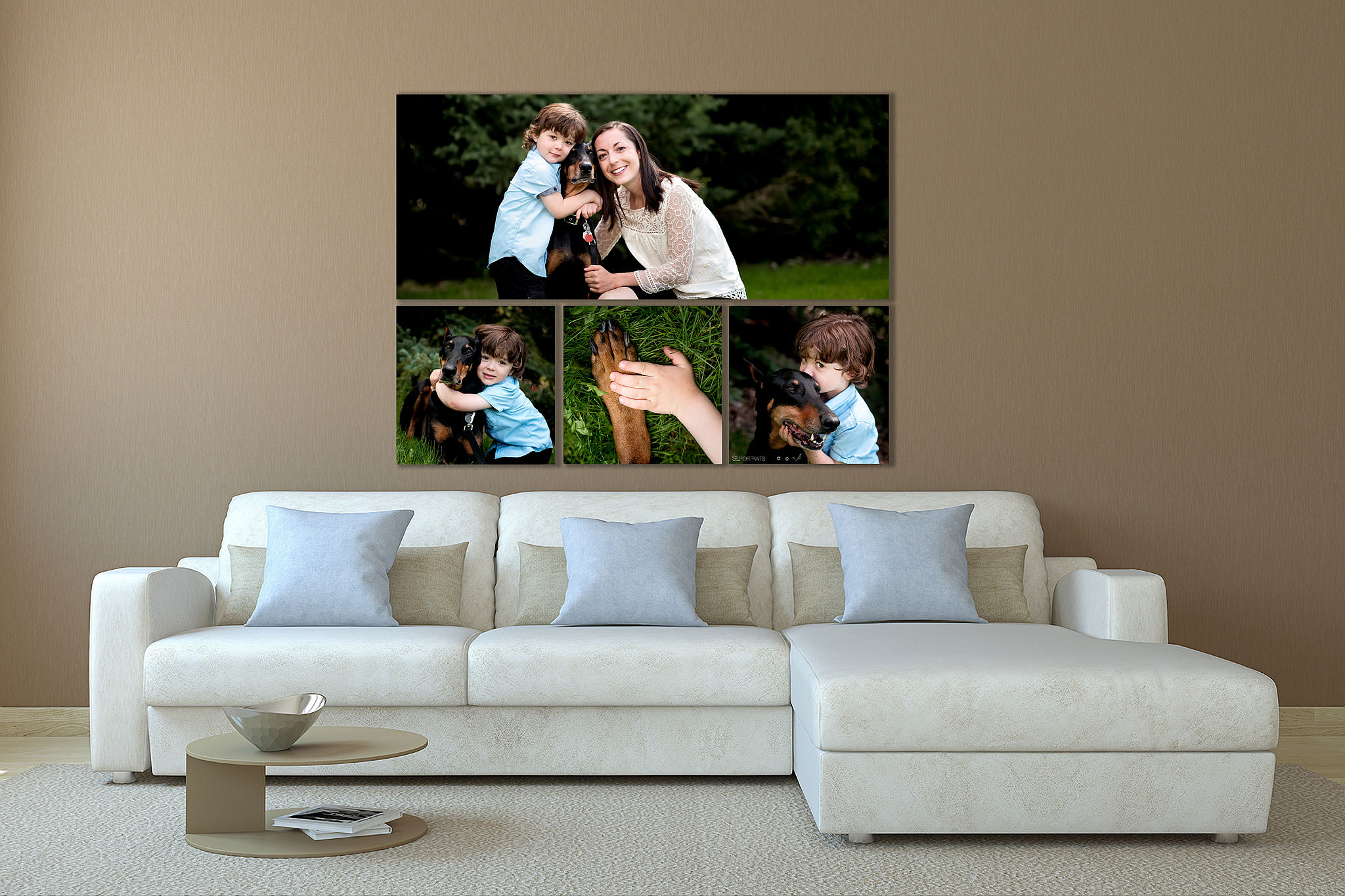 large wall art collection of a mom son and dog hung above a couch by top calgary portrait photographer sean leblanc
