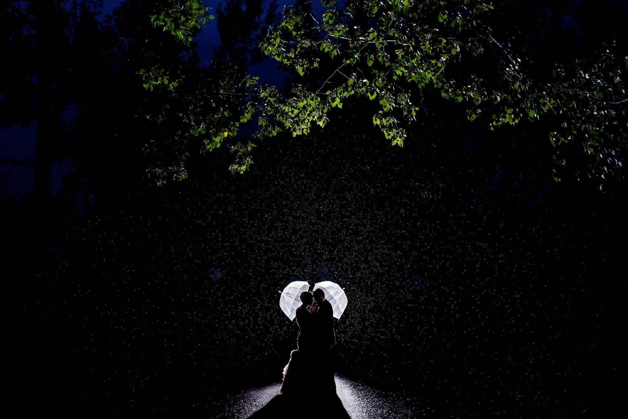bride and groom holding umbrellas at night in the rain by top calgary wedding photographer sean leblanc
