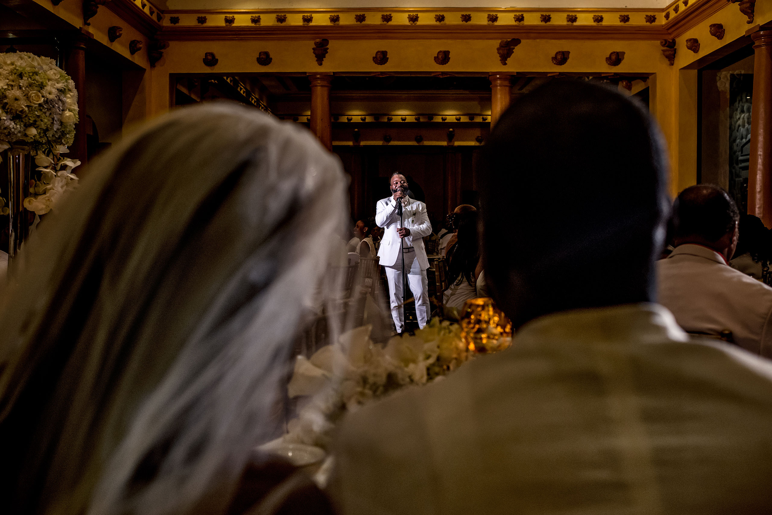 a groomsmen giving a speech at Zephyr Palace Destination Wedding in Costa Rica by Sean LeBlanc