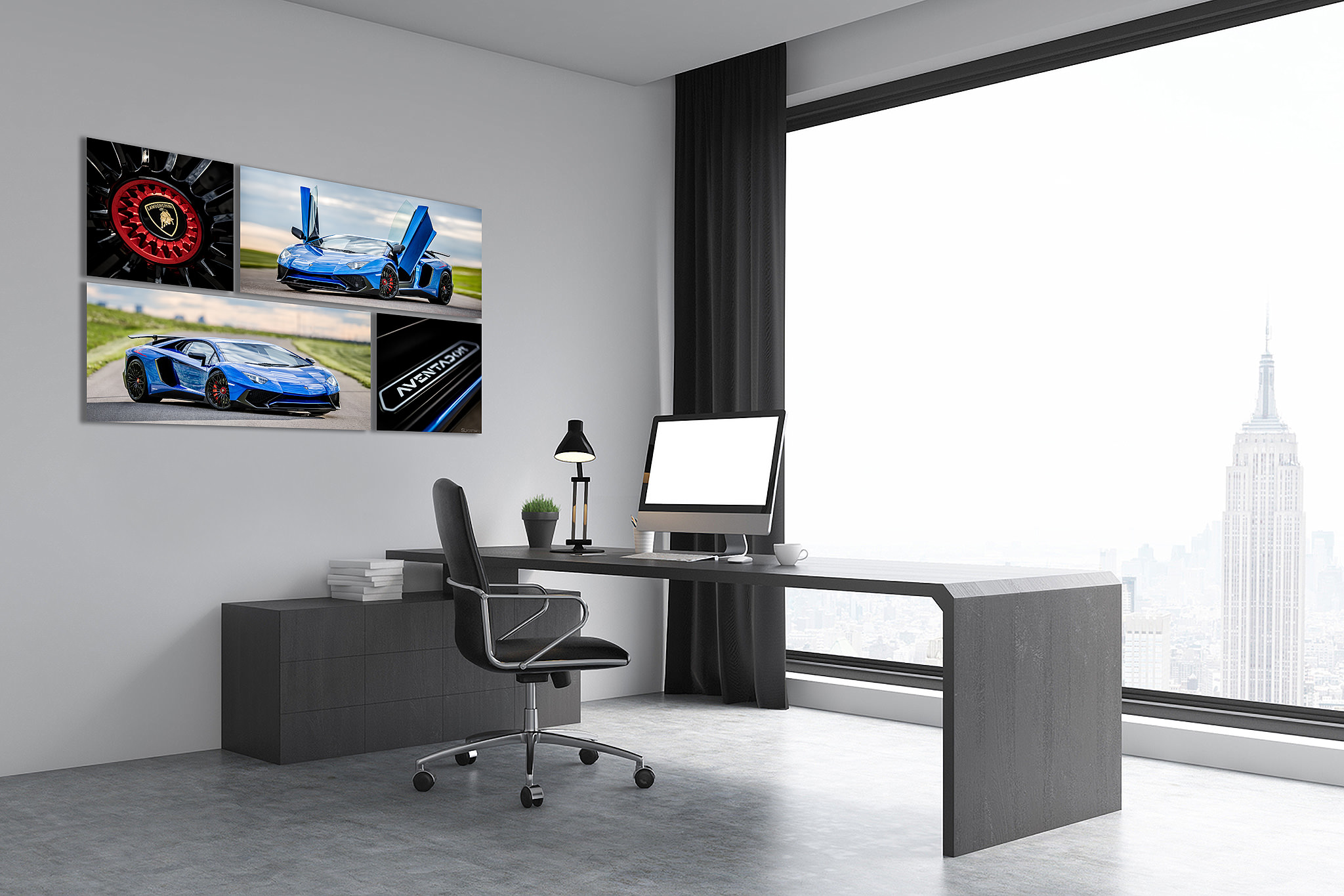 metallic blue Lamborghini aventador wall art collection on the wall in an office