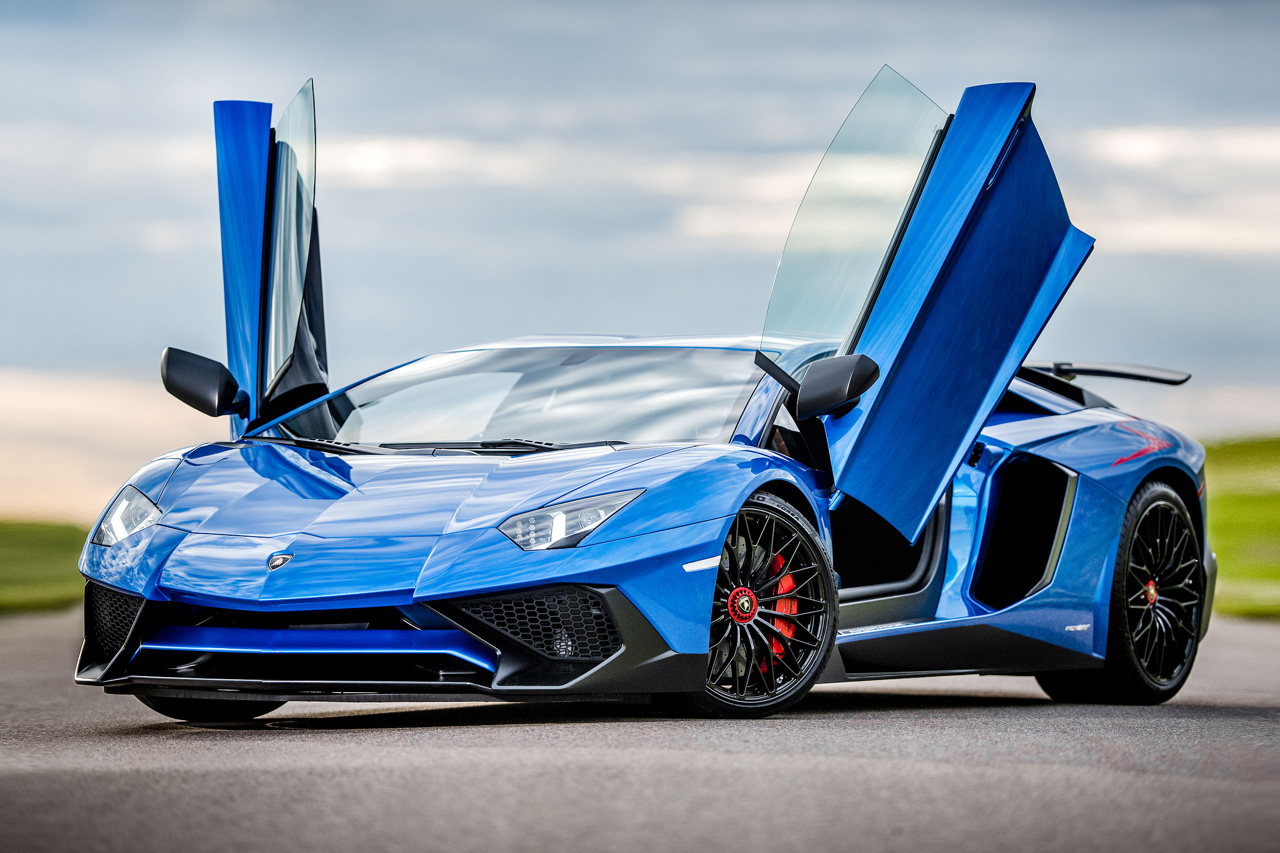 metallic blue Lamborghini aventador with the doors open parked on a road