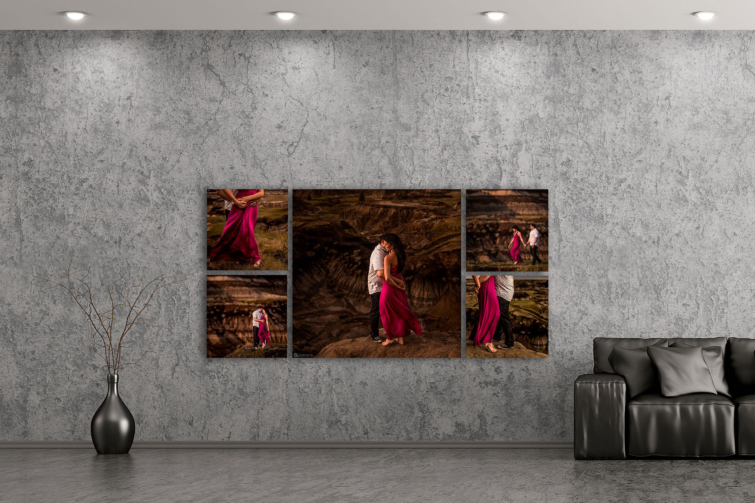 large wall art collection hung beside a couch by top calgary portrait photographer sean leblanc