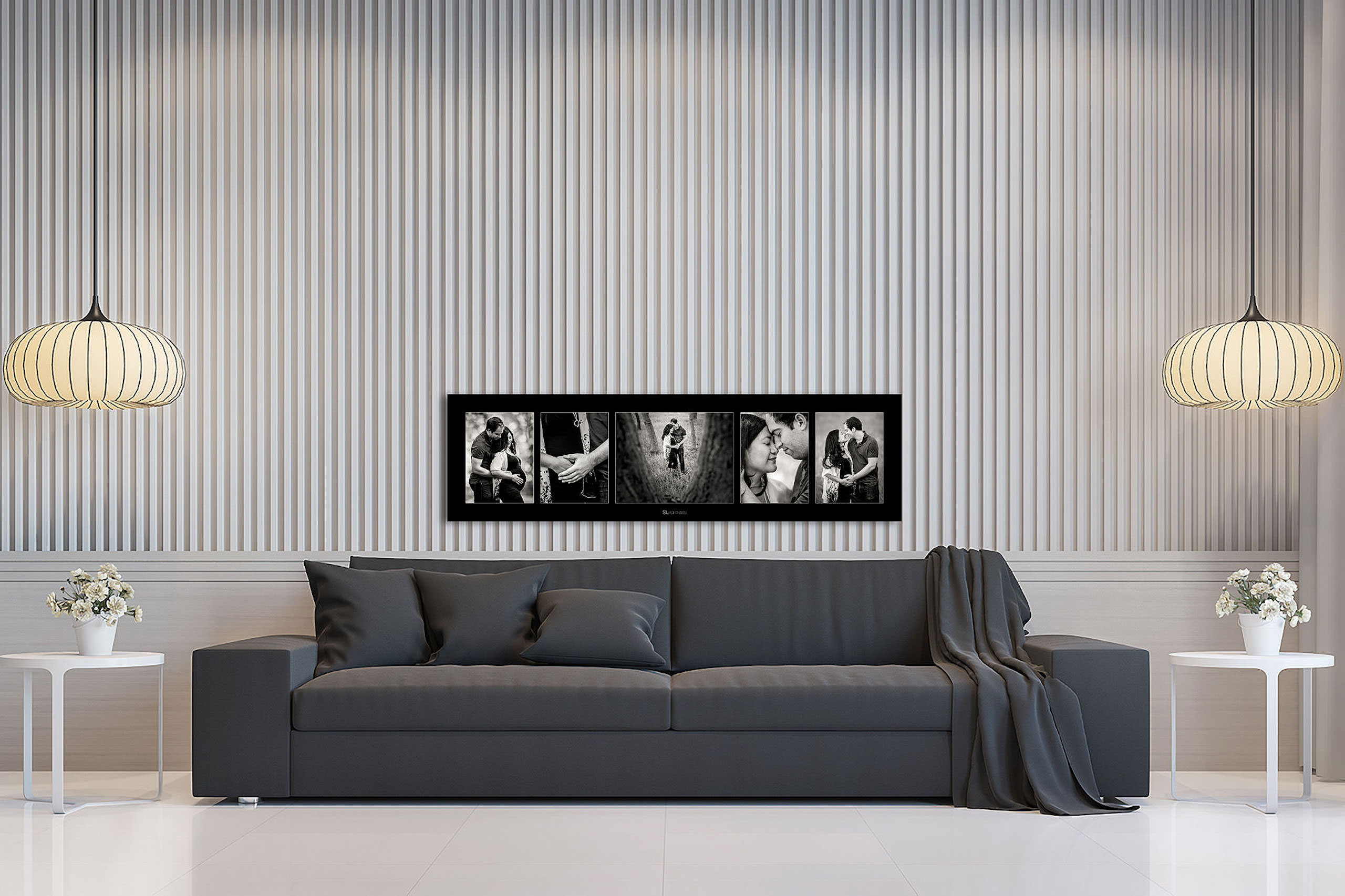 large wall art collection of a pregnant couple hung above a couch by top calgary portrait photographer sean leblanc