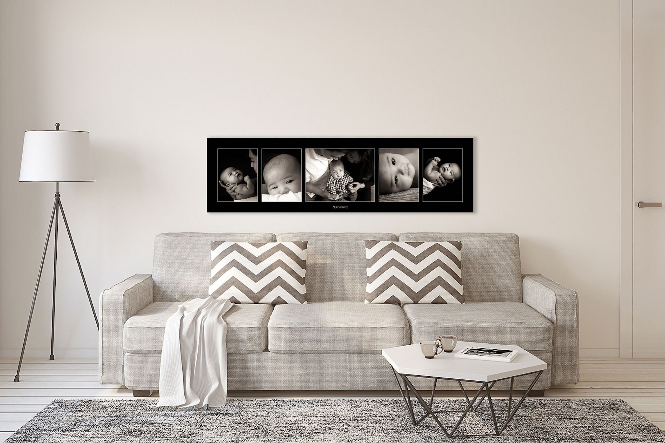 large wall art collection of a baby boy hung above a white couch by top calgary portrait photographer sean leblanc