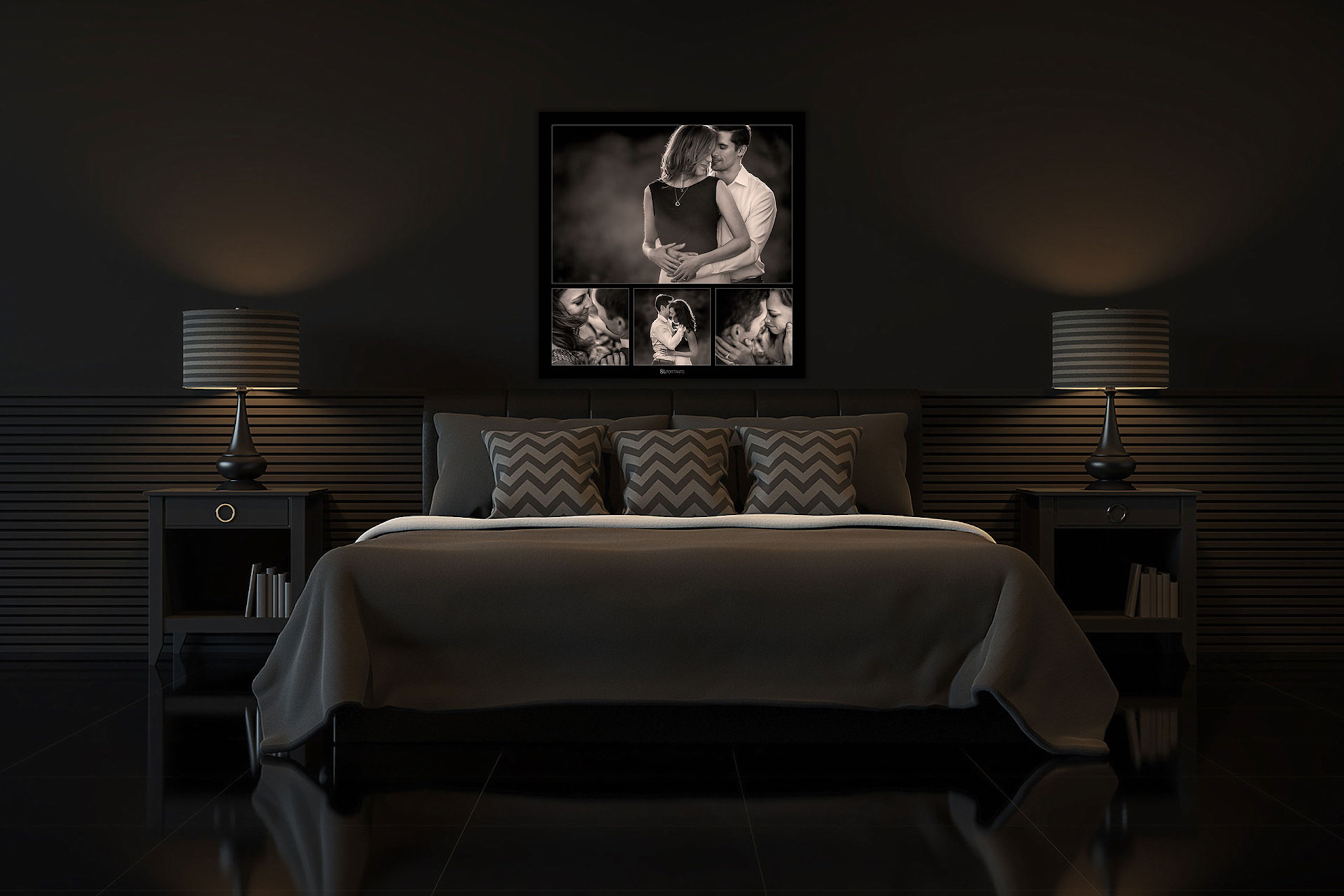 large wall art collection hung above a grey bed by top calgary portrait photographer sean leblanc