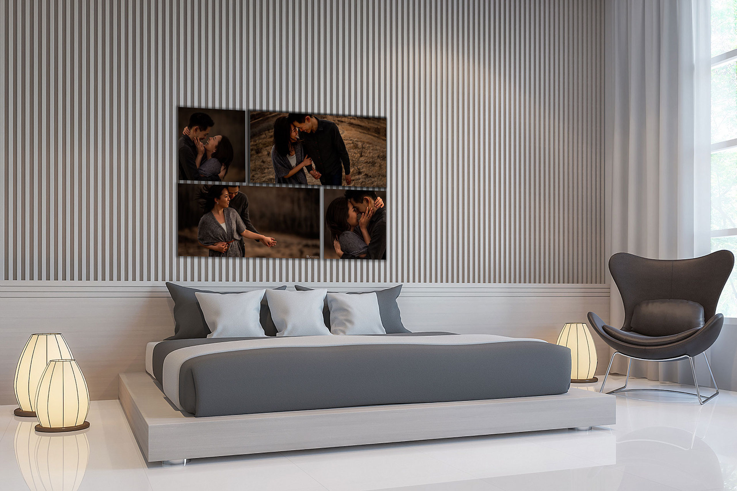 large wall art collection hung above a bed by top calgary portrait photographer sean leblanc