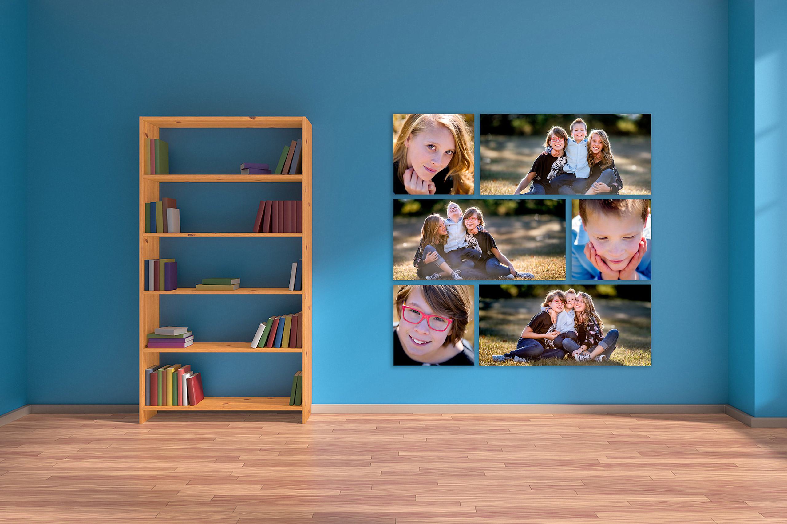 large wall art collection of 3 children hung on a blue wall by top calgary portrait photographer sean leblanc