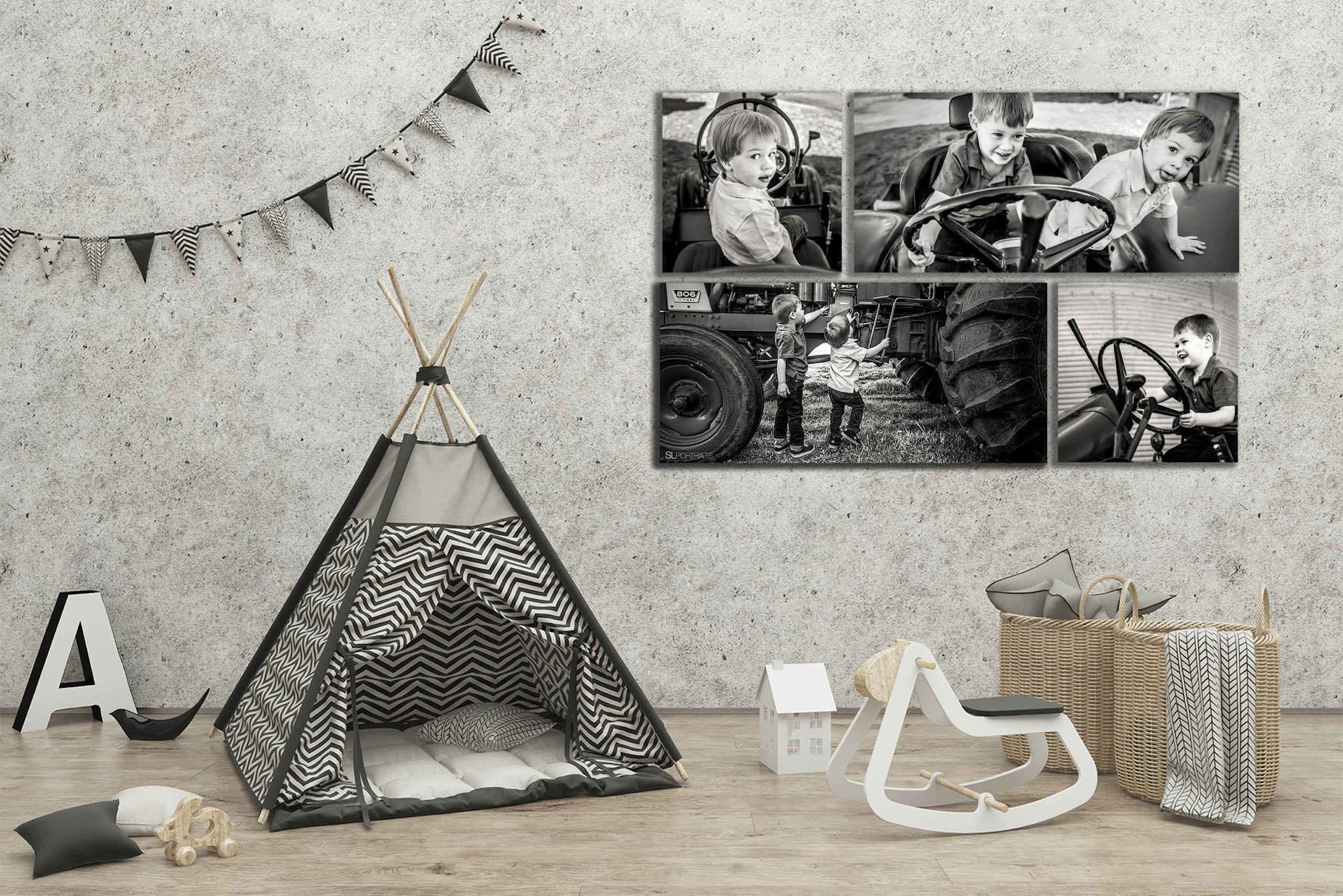 large wall art collection of two brother hung beside a tent by top calgary portrait photographer sean leblanc