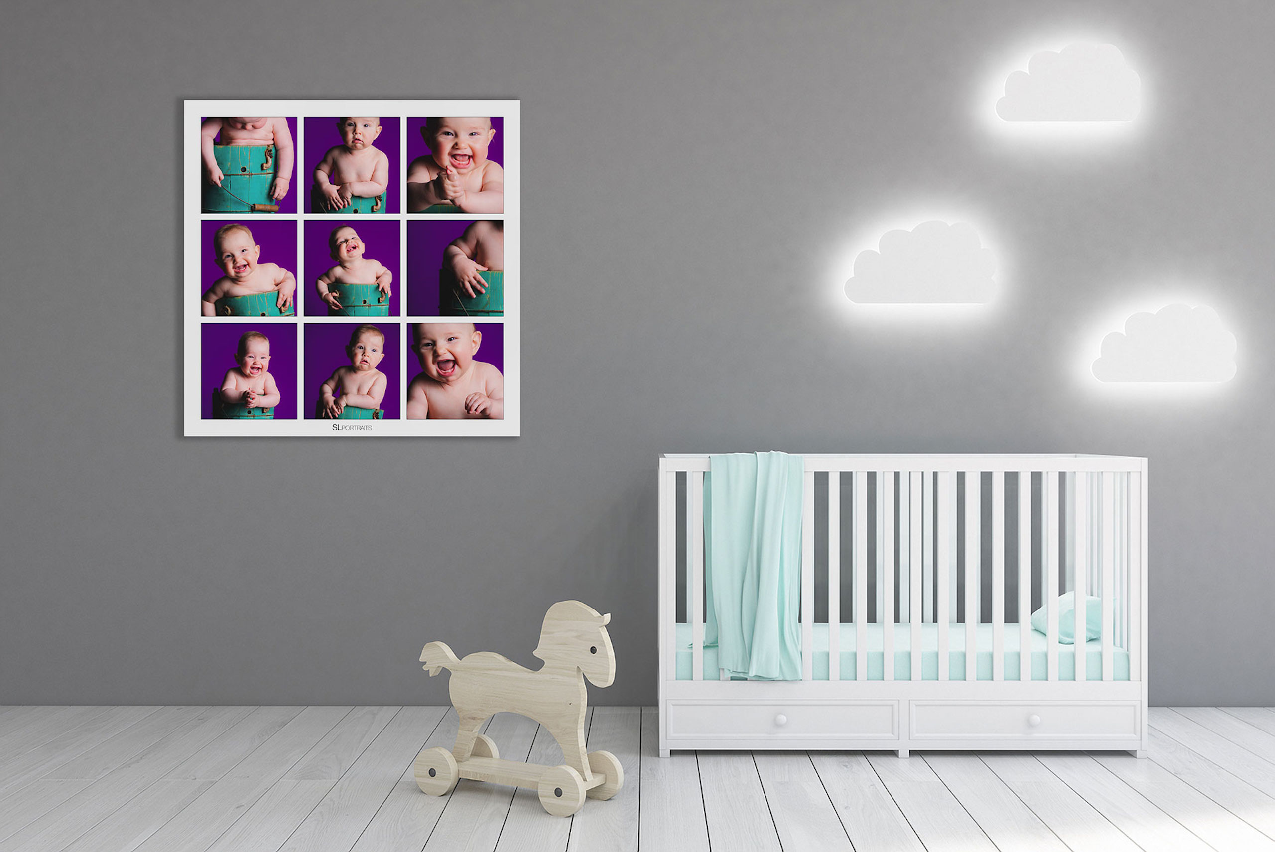 large wall art collection of a baby hung beside a crib by top calgary portrait photographer sean leblanc