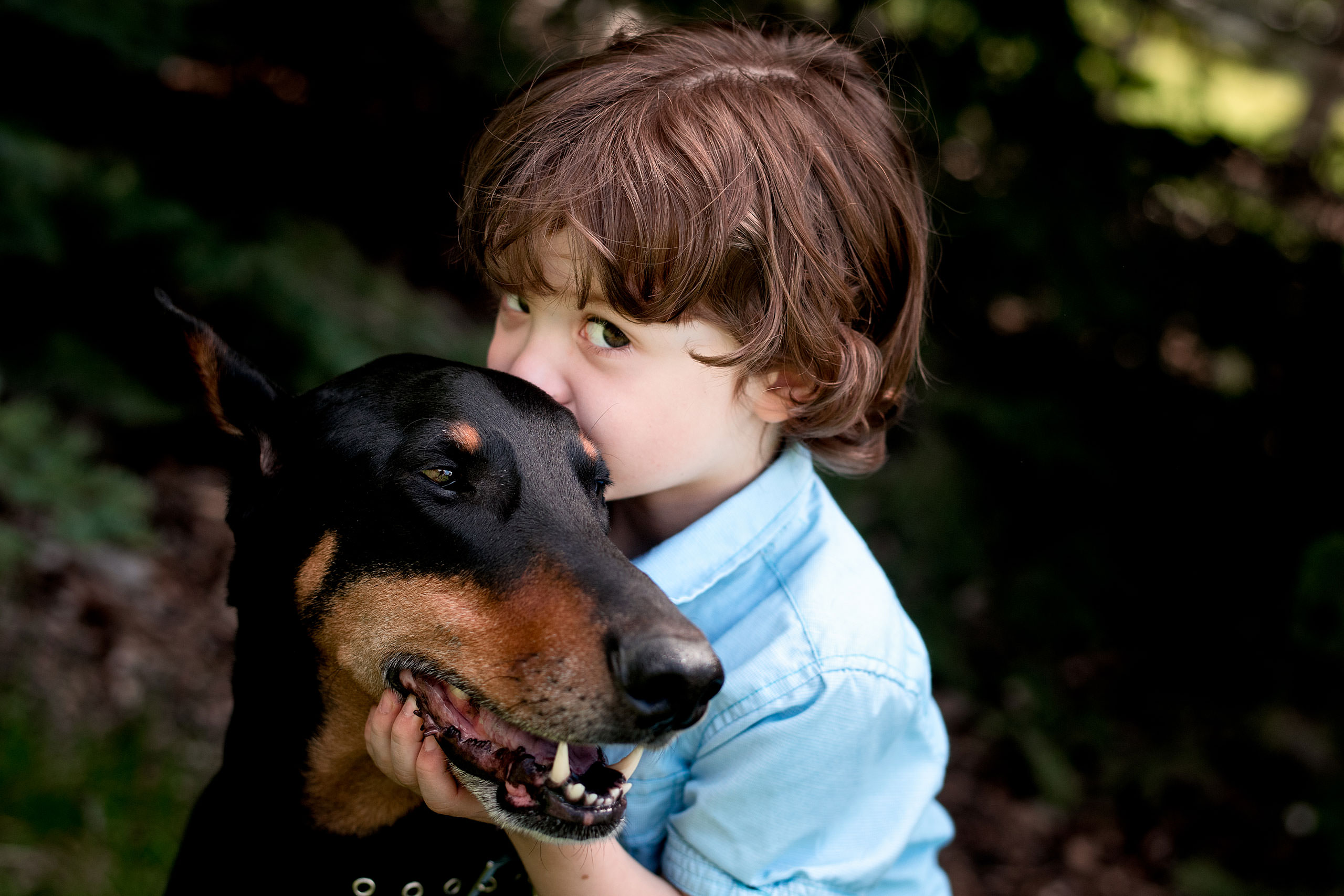 a young boy giving his dog a kiss by Red Deer Family Photographer Sean LeBlanc