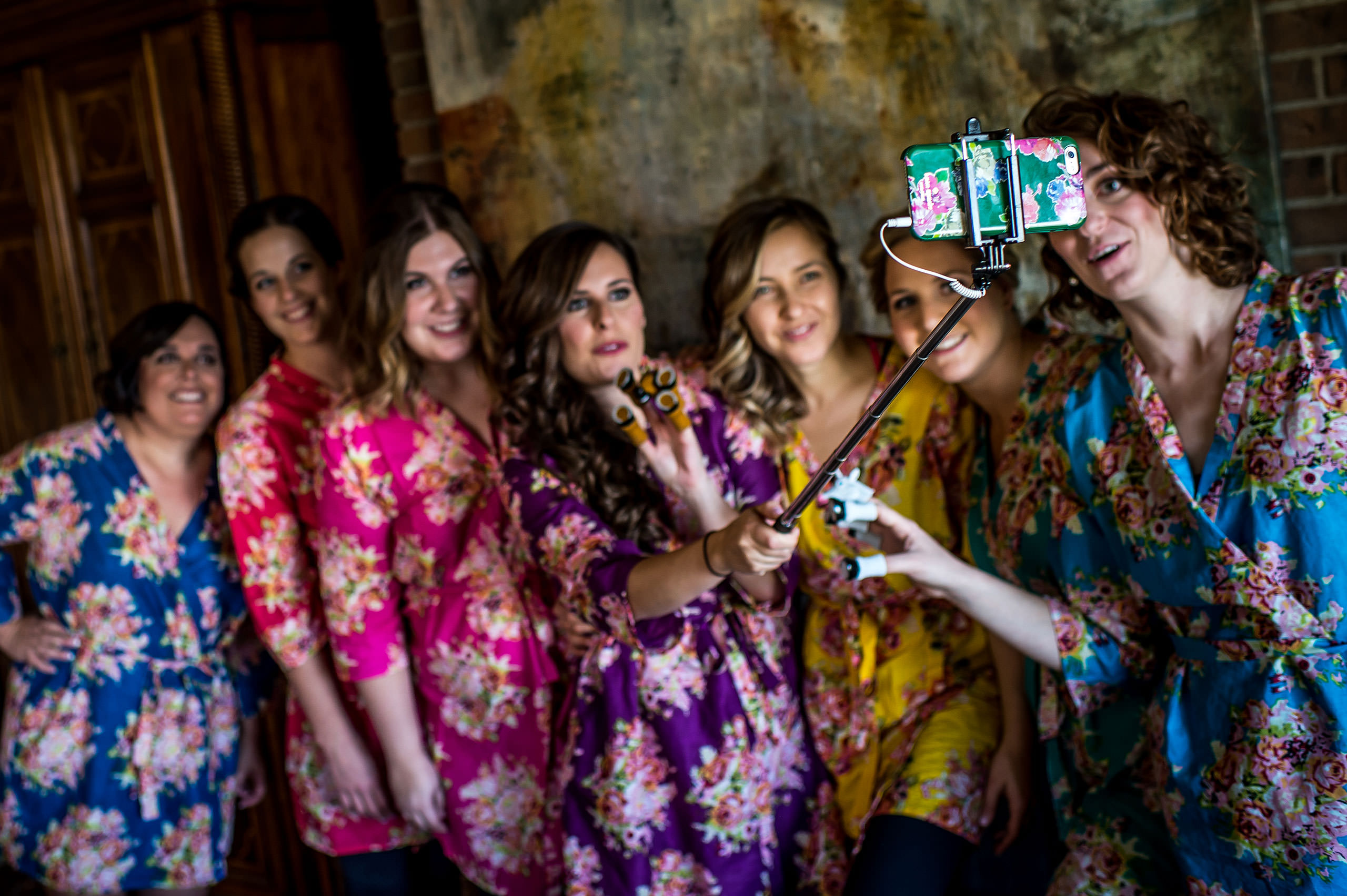 colourful bridesmaids taking a selfie by Calgary Jewish Wedding Photographer Sean LeBlanc