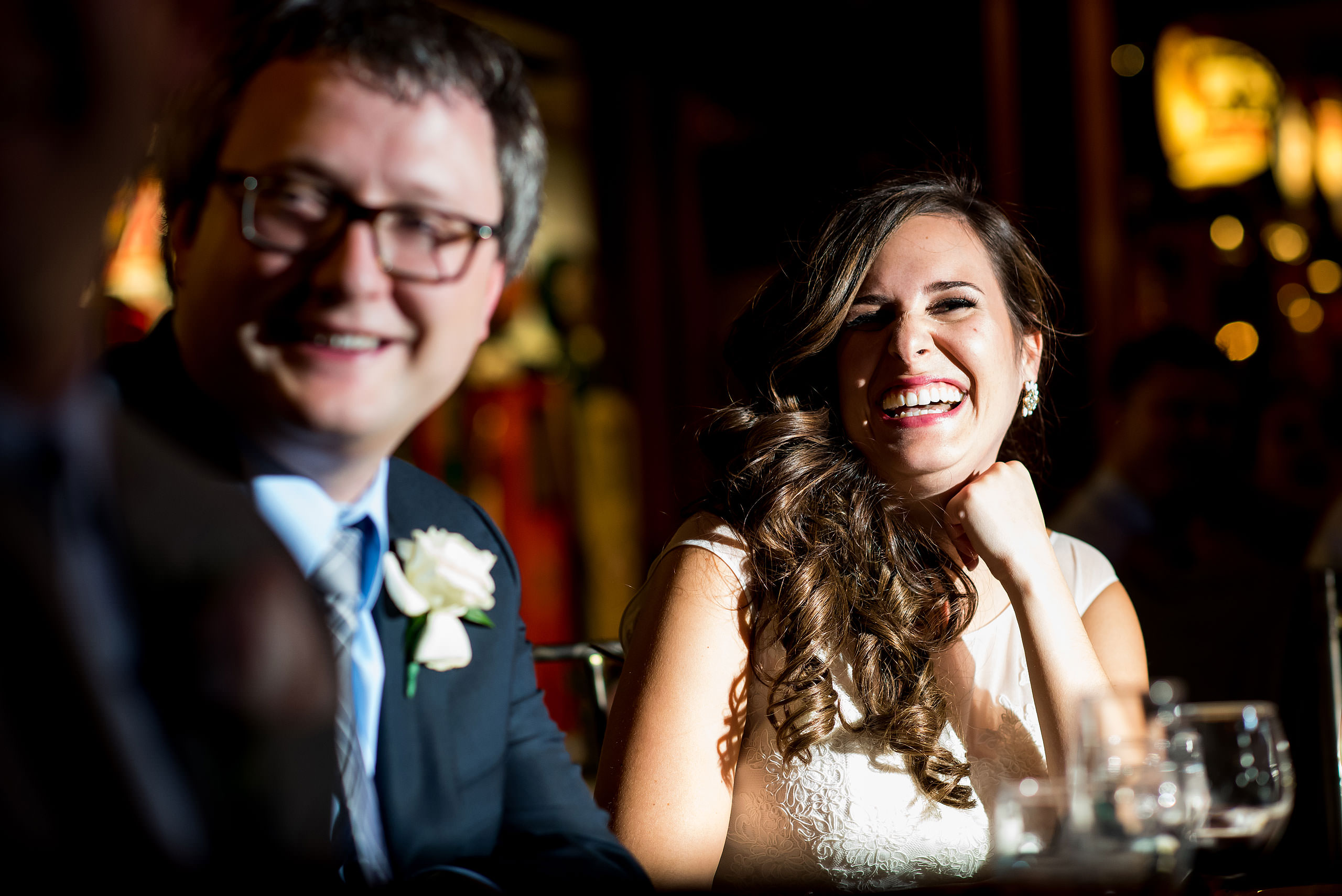 a bride laughing by Calgary Jewish Wedding Photographer Sean LeBlanc