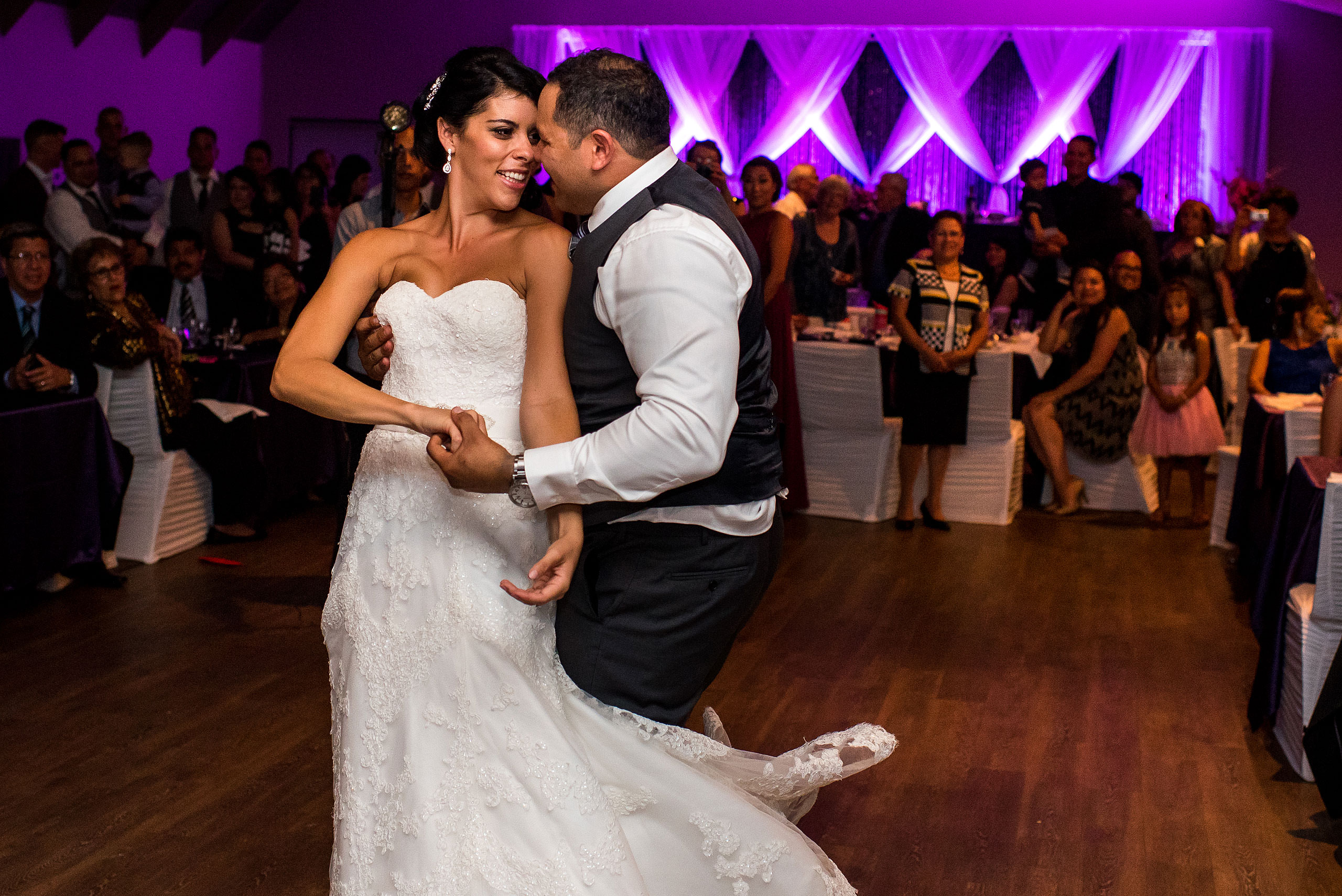 a bride and groom dancing by Edmonton wedding photographer sean leblanc