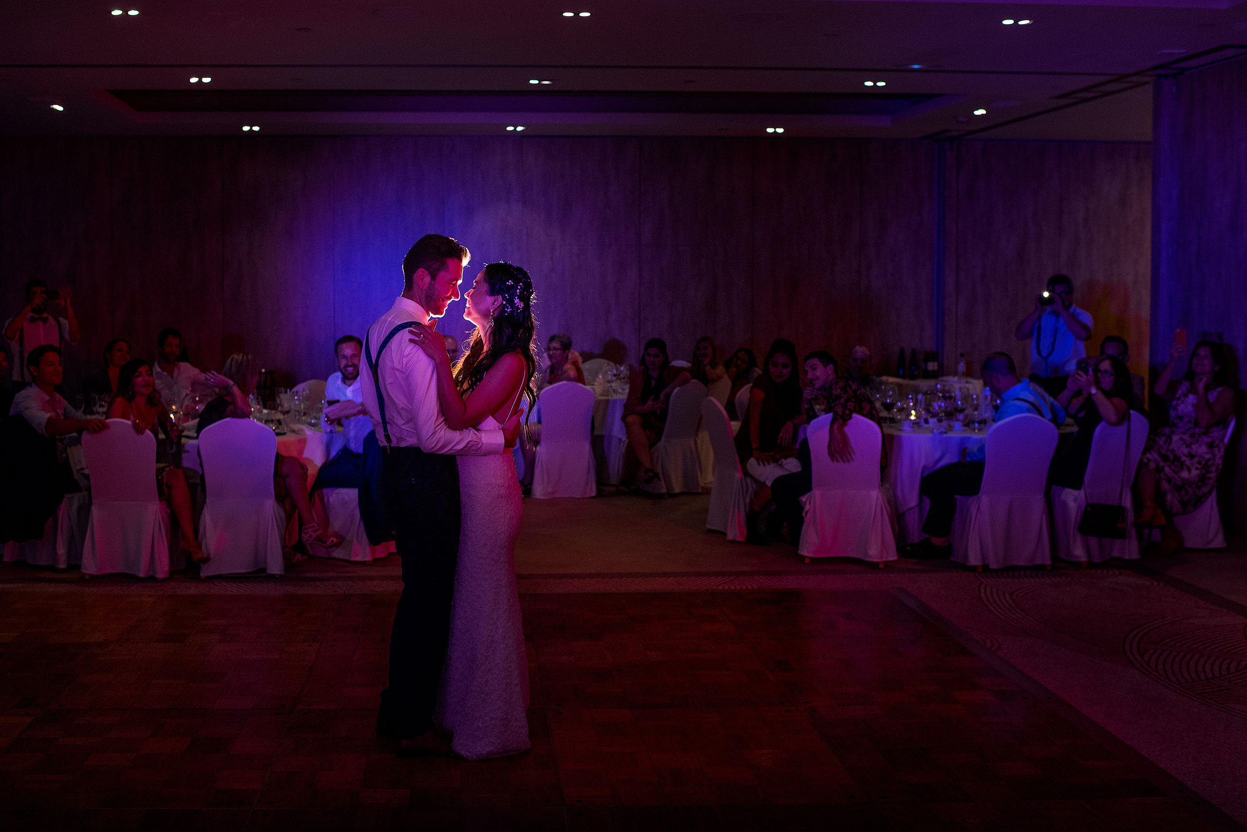 a bride and groom dancing at their wedding reception at castillo hotel son vida destination wedding by sean leblanc