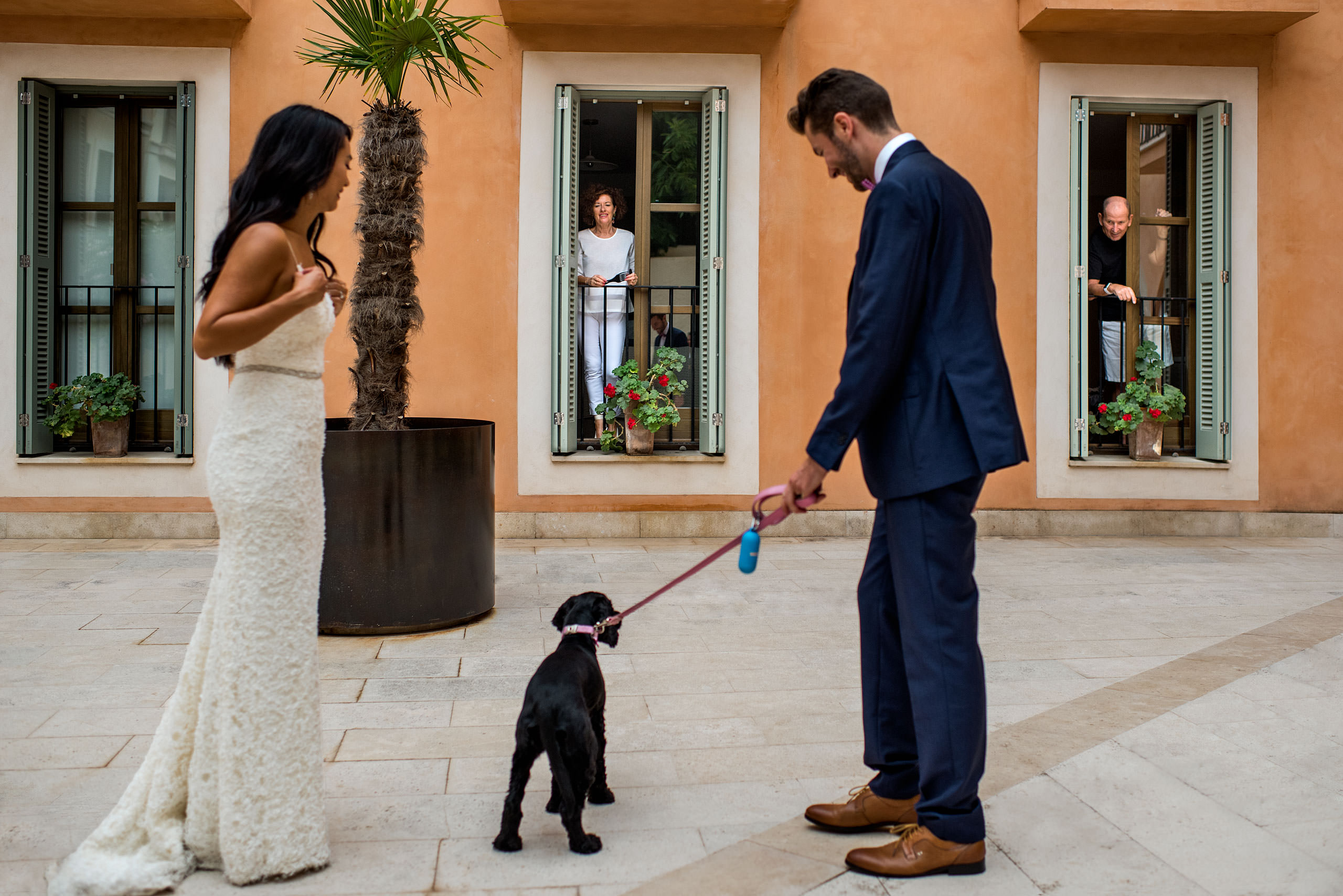 a bride and groom walking their dog at castillo hotel son vida destination wedding by sean leblanc