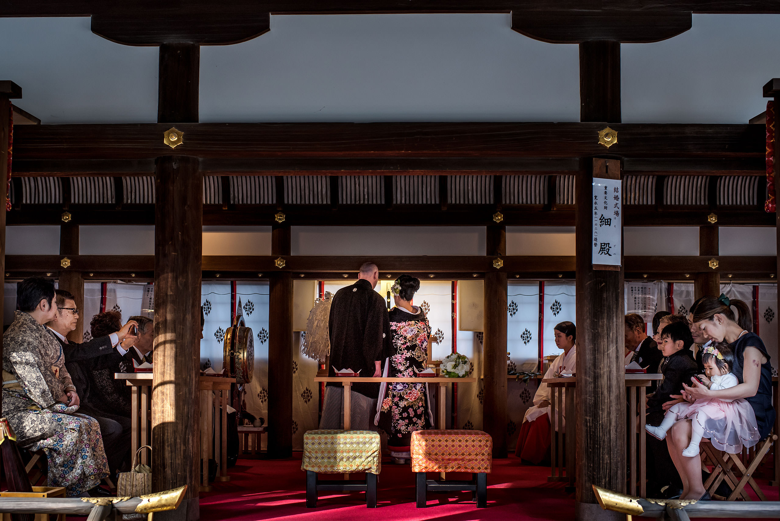 a Japanese bride and groom at their wedding ceremony by Japan Destination Wedding Photographer Sean LeBlanc