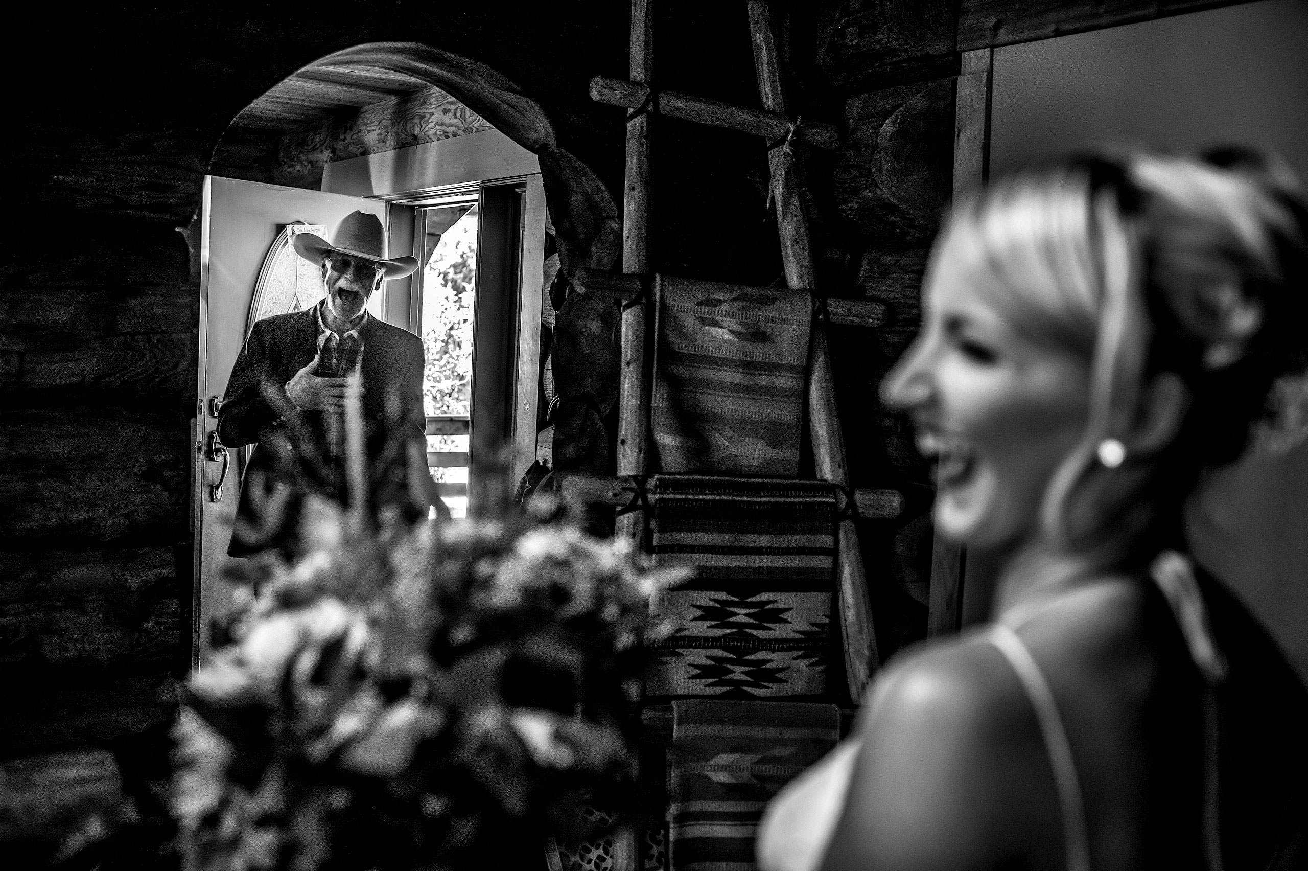 dad seeing his daughter for the first time on her wedding day at Cochrane Country Wedding by Sean LeBlanc