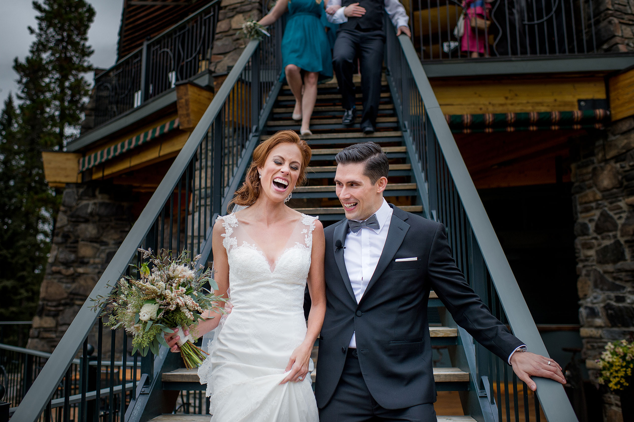 bride and groom after their wedding ceremony by top calgary wedding photographer sean leblanc