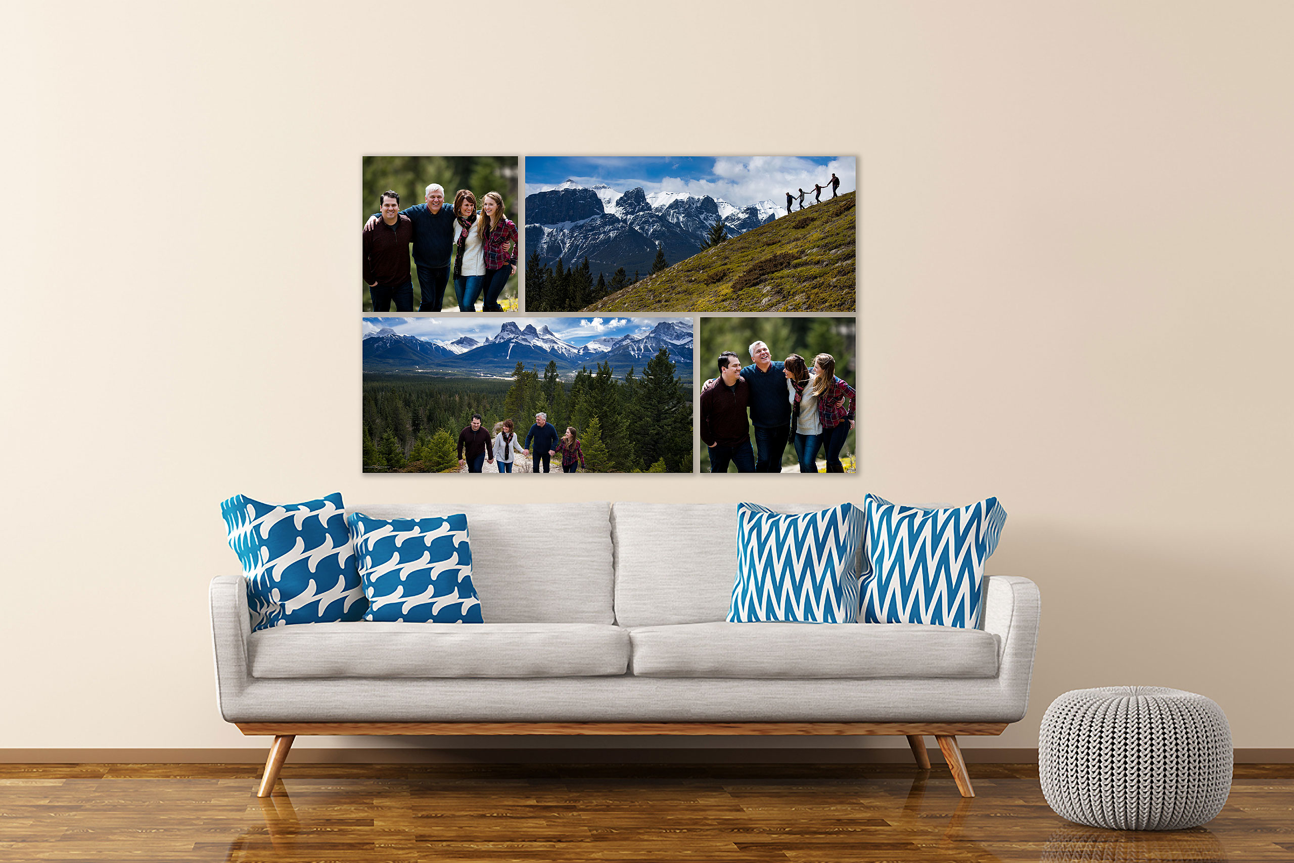 large wall art collection of a family in the mountains hung above a couch by top calgary portrait photographer sean leblanc
