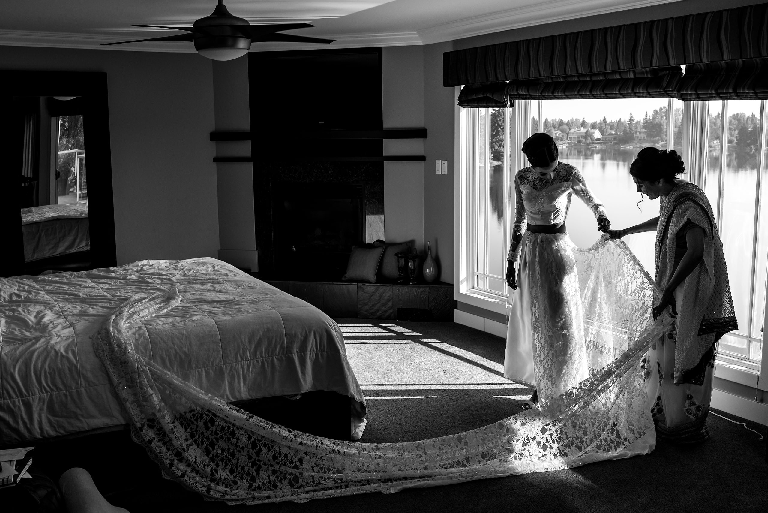 an Indian bride getting ready for her wedding day by Calgary Banff Wedding Photographer Sean LeBlanc