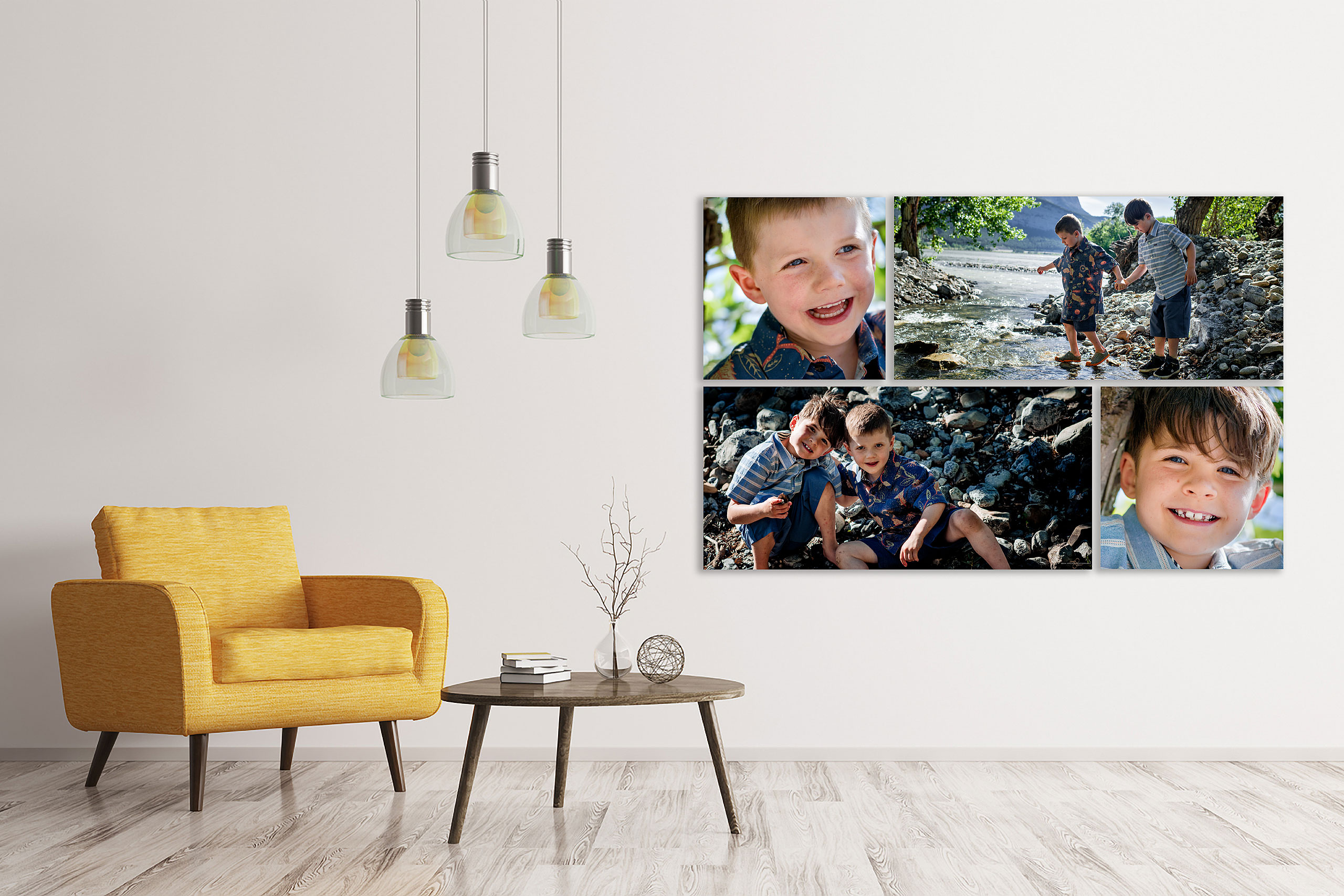 large wall art collection of two young boys by a river by top calgary portrait photographer sean leblanc
