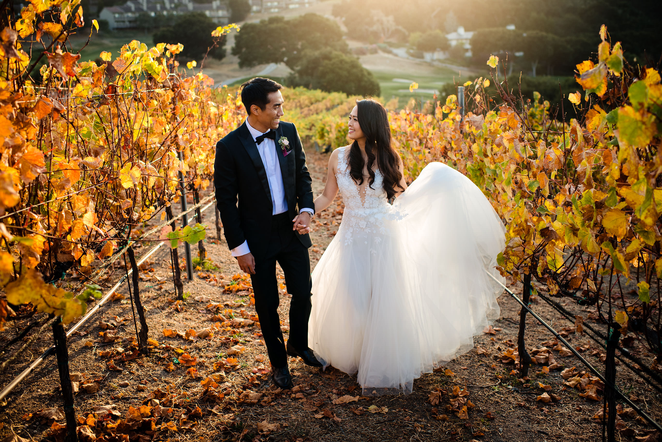 Bride and groom walking through a vinyard by Carmel Valley Ranch Wedding Photographer Sean LeBlanc