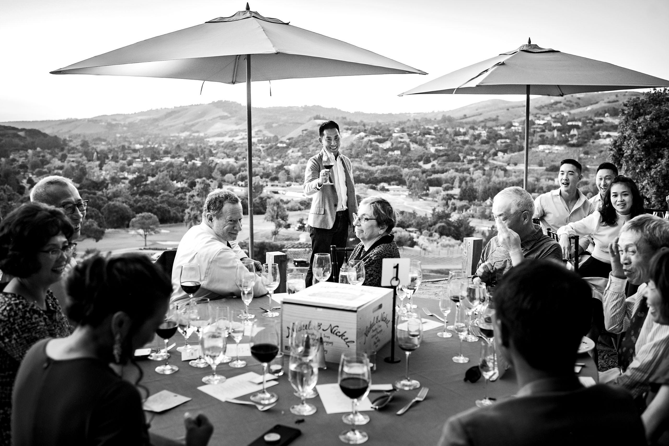 Best man giving a toast by Carmel Valley Ranch Wedding Photographer Sean LeBlanc