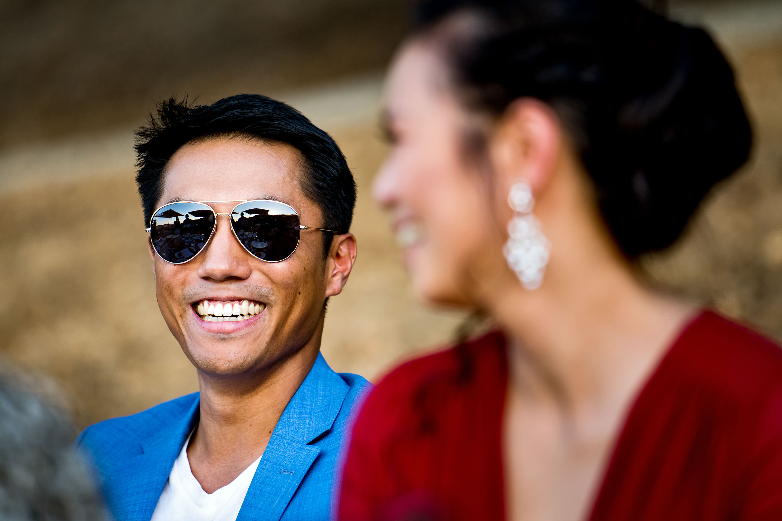groom wearing sunglasses by Carmel Valley Ranch Wedding Photographer Sean LeBlanc