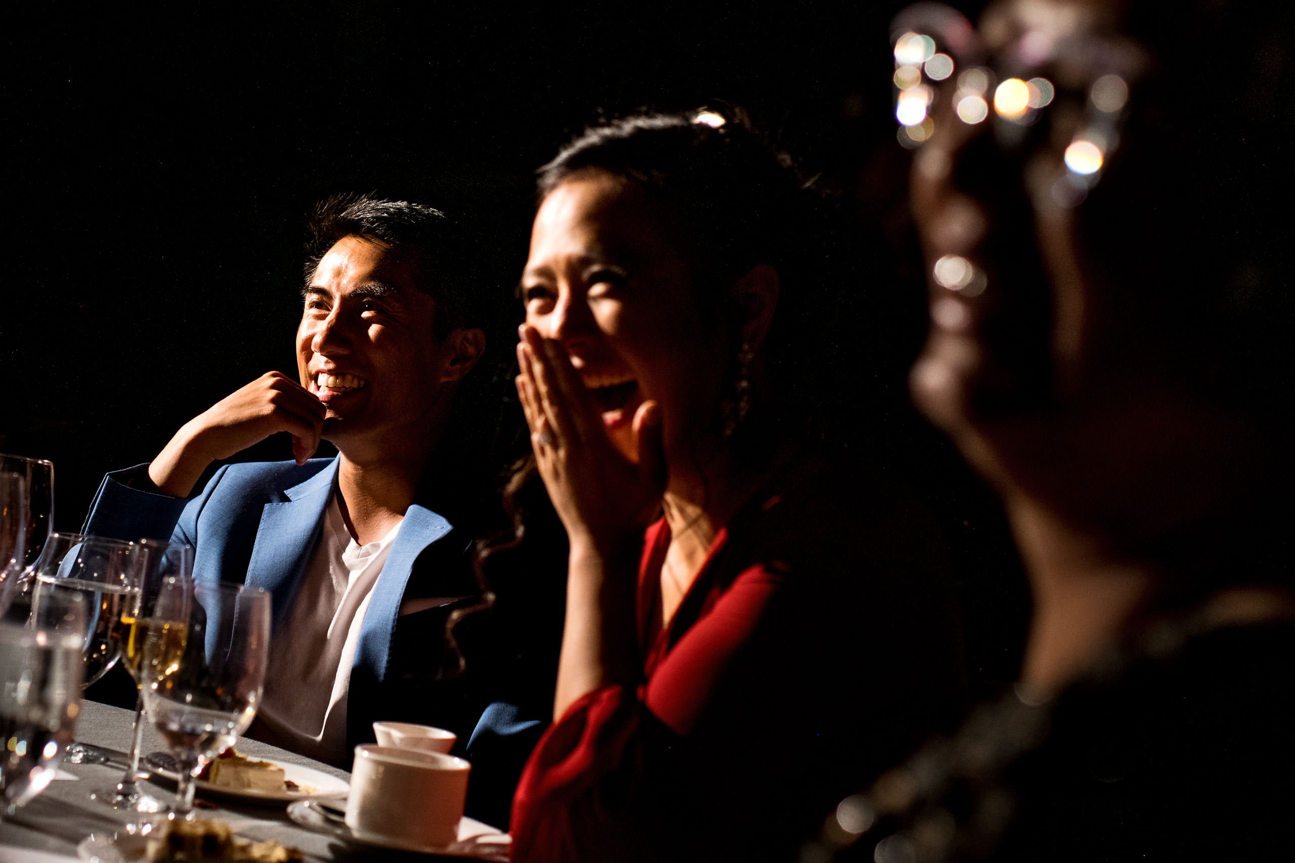 people laughing by Carmel Valley Ranch Wedding Photographer Sean LeBlanc
