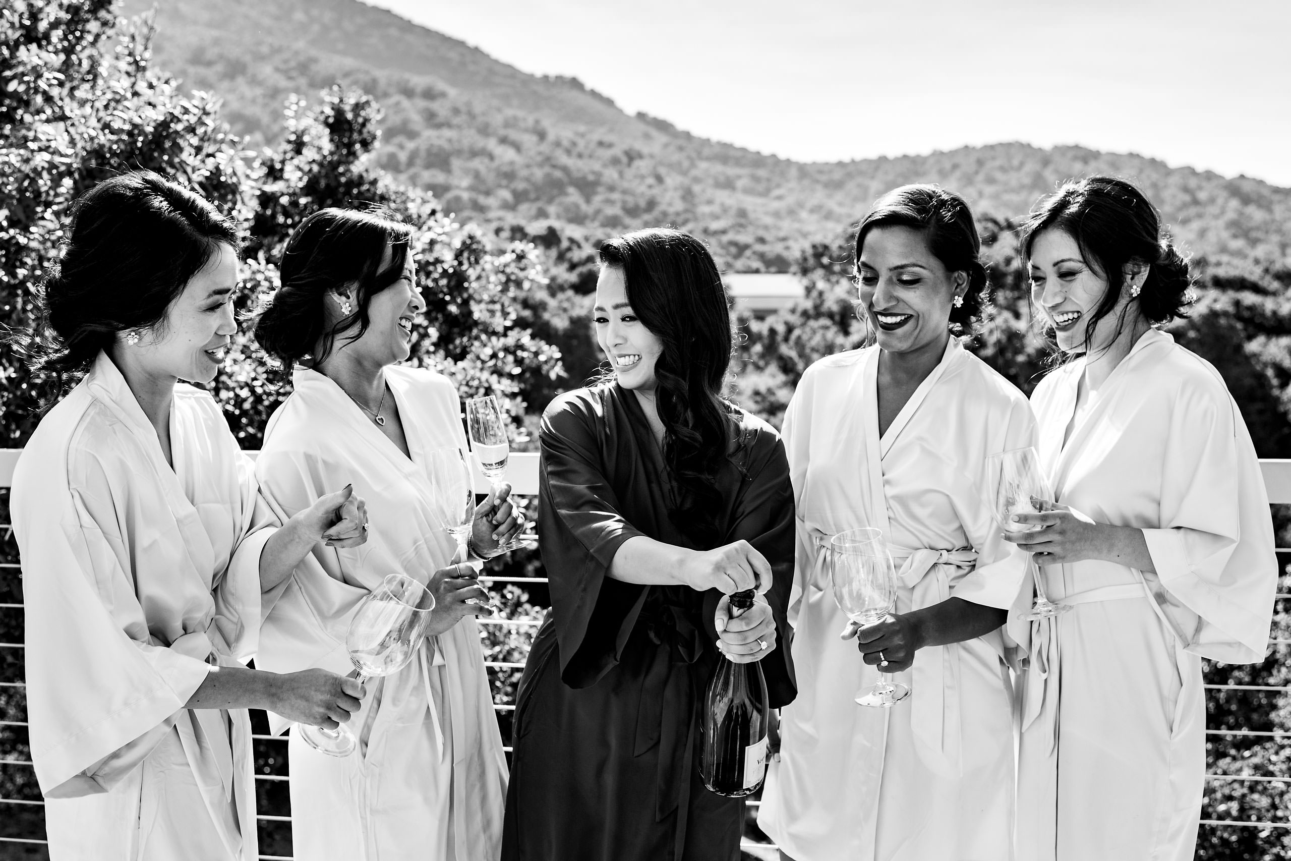 Bridemaids drinking champagne by Carmel Valley Ranch Wedding Photographer Sean LeBlanc