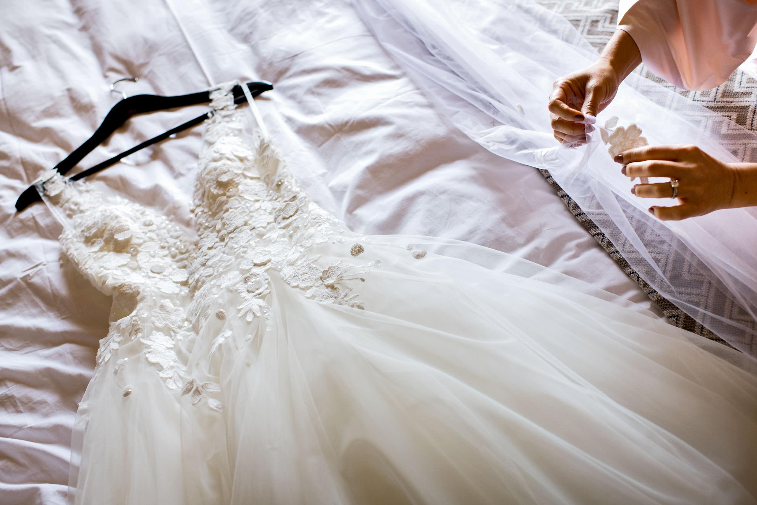 Wedding dress by Carmel Valley Ranch Wedding Photographer Sean LeBlanc
