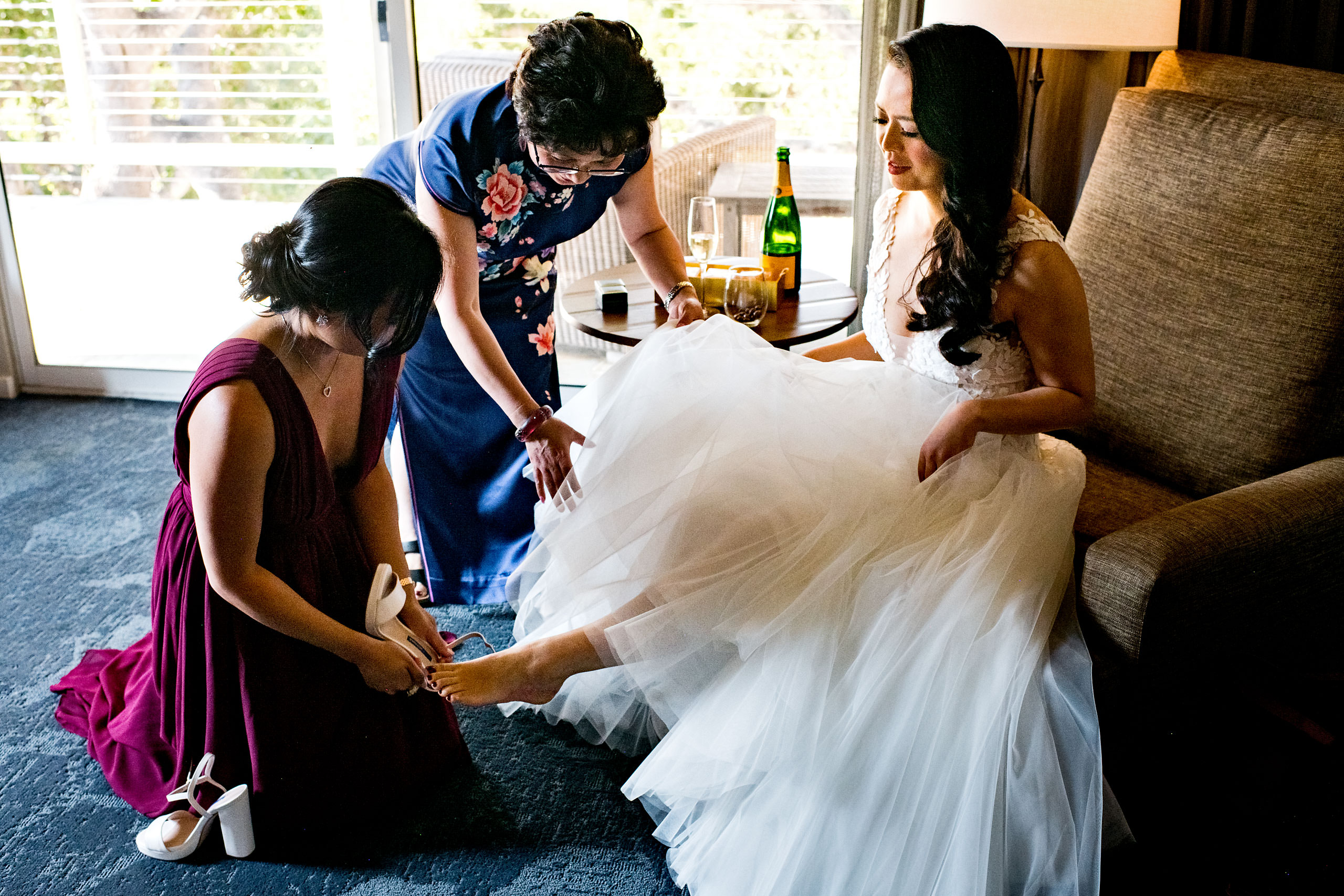 Bride getting ready by Carmel Valley Ranch Wedding Photographer Sean LeBlanc
