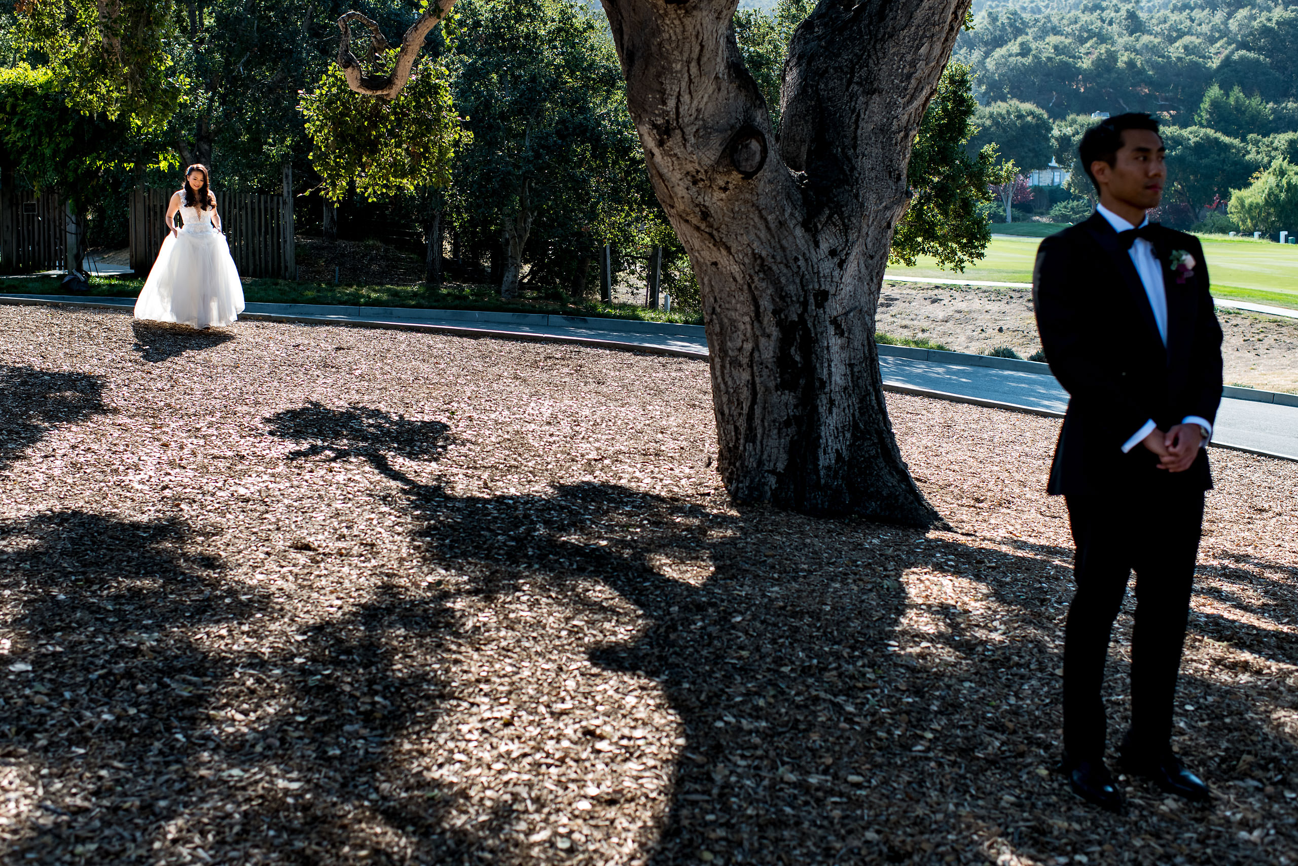 First look by a swing by Carmel Valley Ranch Wedding Photographer Sean LeBlanc
